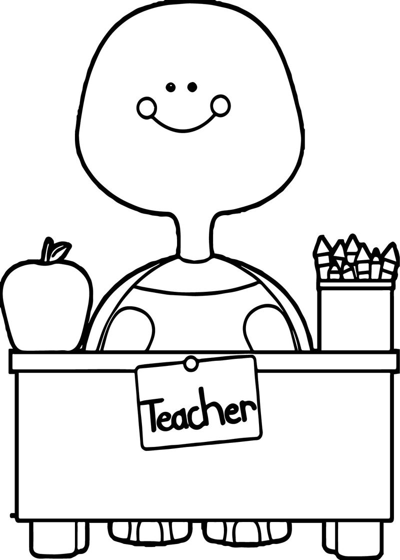 Turtle Teacher And Apple Image Coloring Page