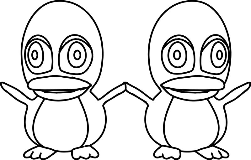 Two Cartoon Penguin Coloring Page