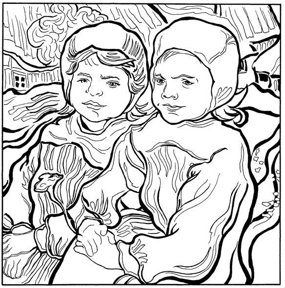Two Children Playing Van Gogh Coloring Pages