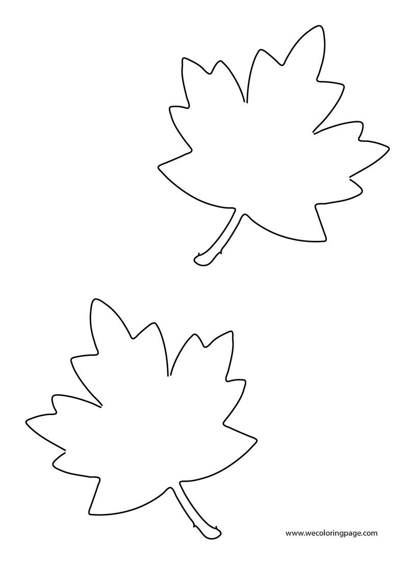 Two Fall Leaf Coloring Page