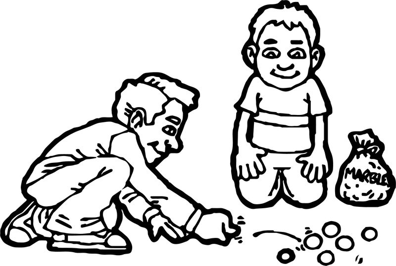Two Kids Playing Marbles Coloring Page