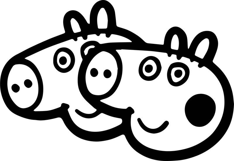 Two Peppa Pig Head Coloring Page