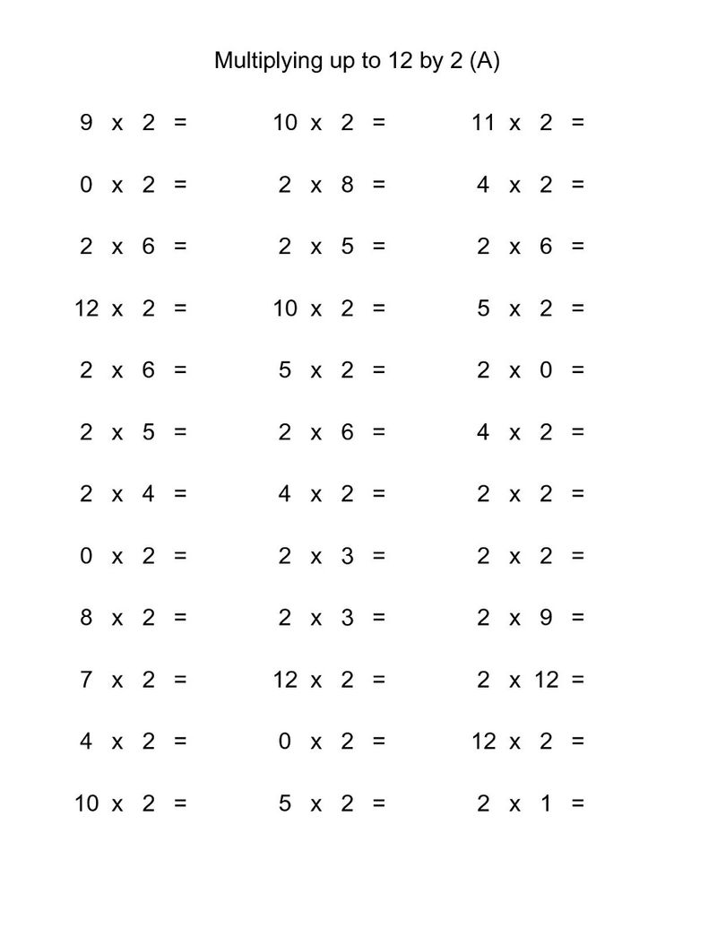 Two Times Table Worksheet Practice