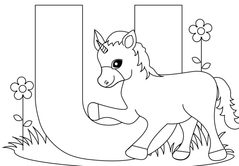 U For Unicorn Coloring Page For Kids