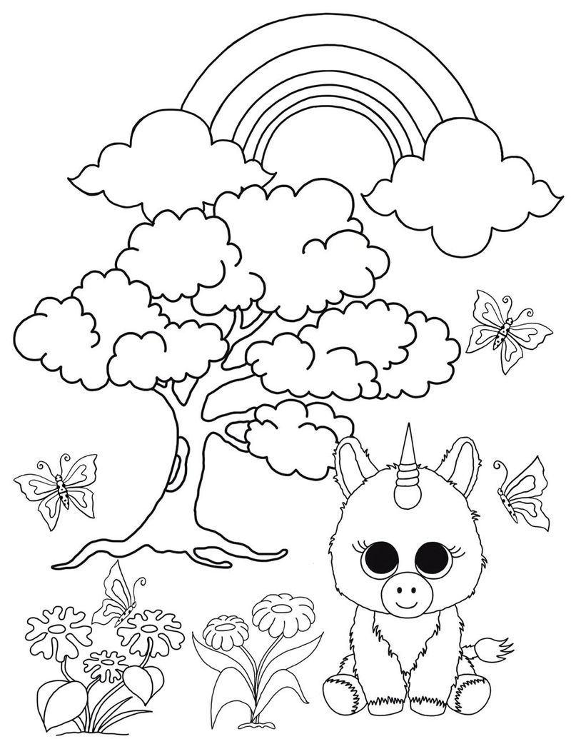 Unicorn Beanie Boo Coloring Pages