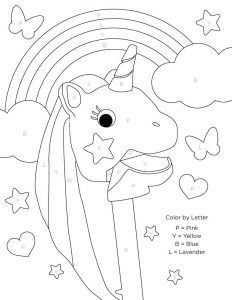 Unicorn color by letter coloring pages