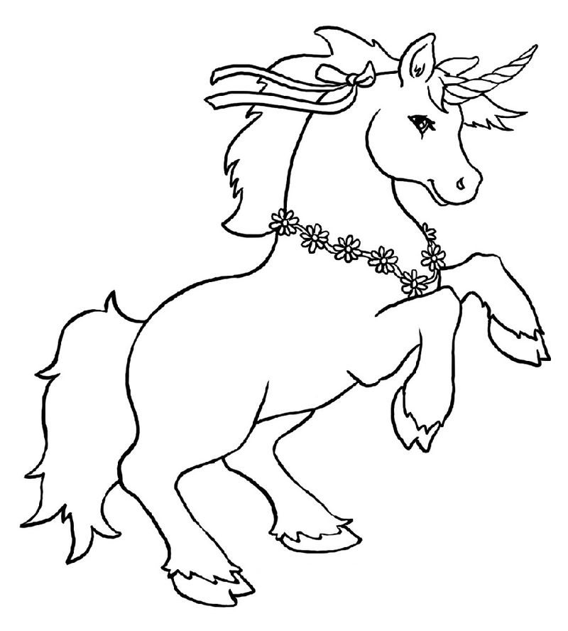 Unicorn Color Pages For Kids 001