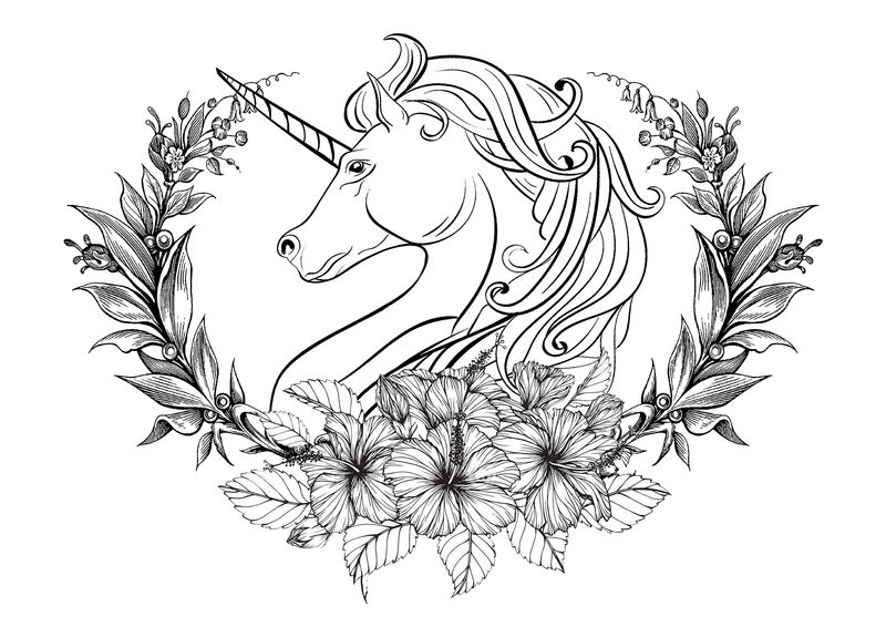 Unicorn Flower Crest Coloring Pages