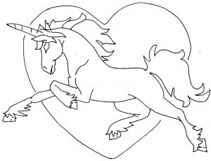 Unicorn heart line art for coloring