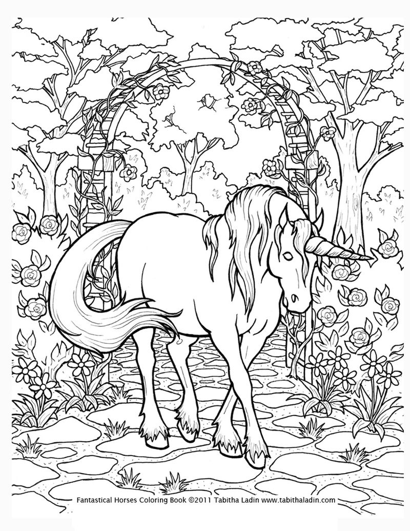 Unicorn In The Garden Coloring Page