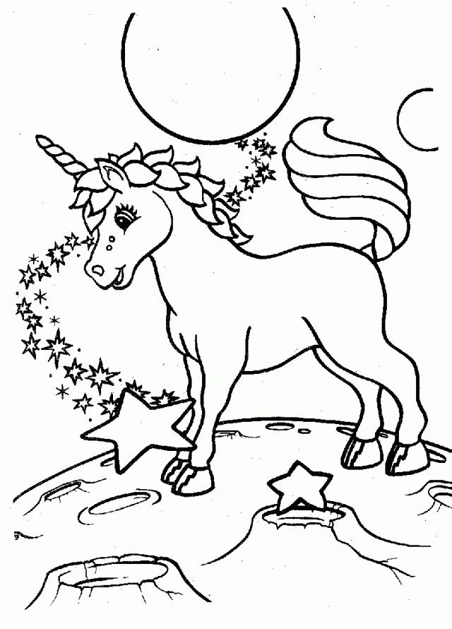 Unicorn On The Moon Coloring Pages