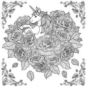 Unicornin flowers coloring page for adults