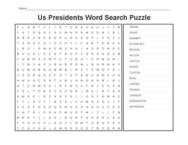 Us Presidents Day Word Search