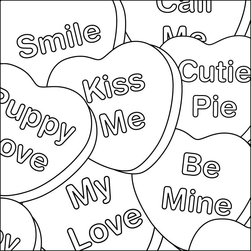 Valentine Coloring Pages Candy