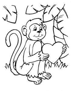 Valentines day coloring pages monkey