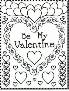 Valentines day coloring pages valentine card
