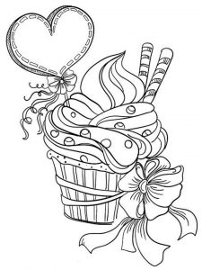 Valentines day cupcake coloring pages for adults