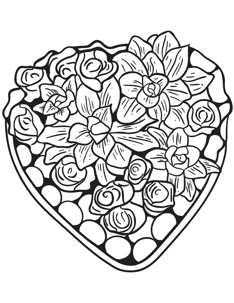 Valentines Heart Coloring Pages For Adults