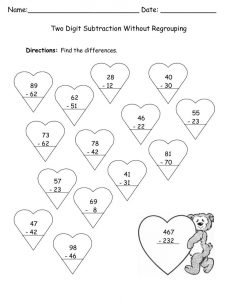 Valentines worksheets subtraction