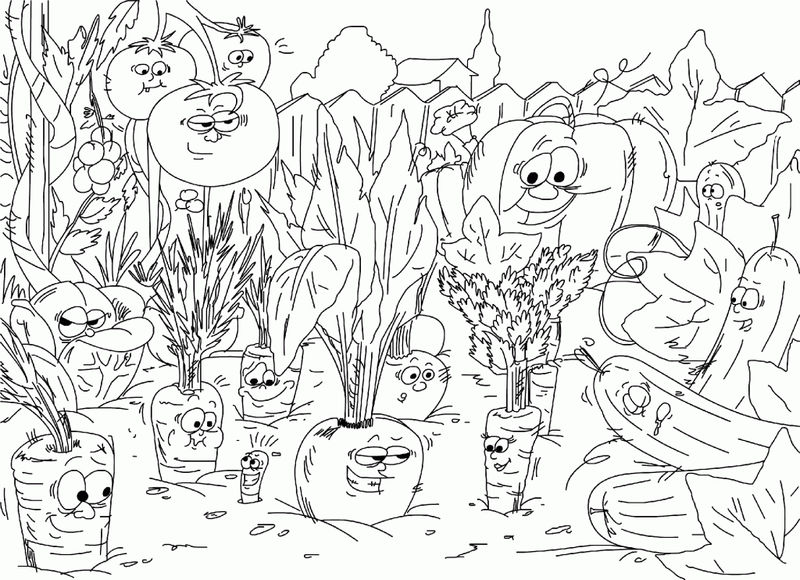 Veggies In The Garden Coloring Pages 001