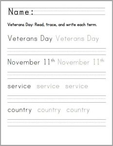 Veterans day writing holiday worksheet