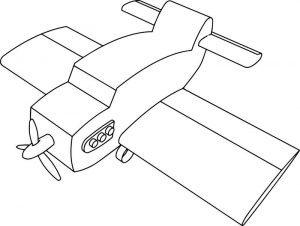 Vintage aircraft cartoon plane coloring page