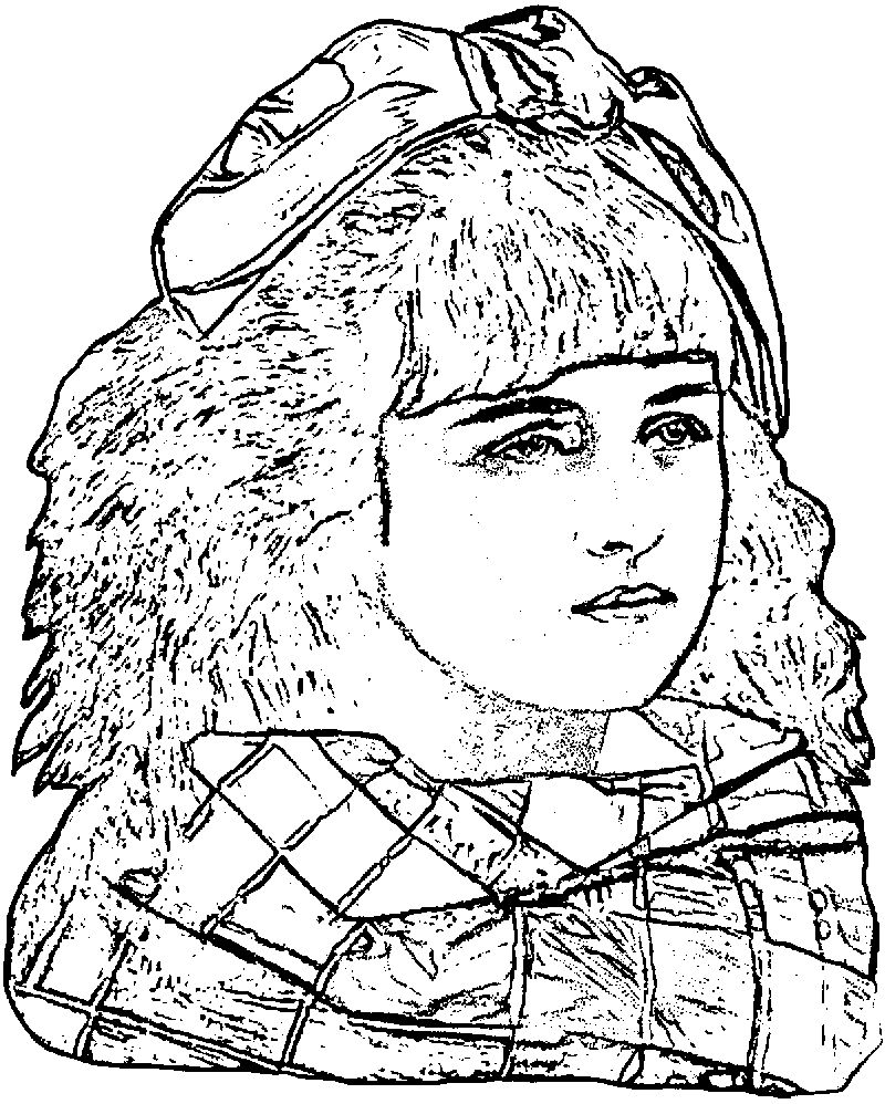 Vintage Pretty Girl Art Graphics Coloring Page