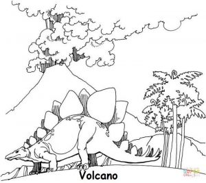 Volcano and dinosaurus coloring page
