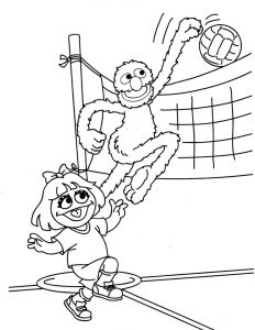 Volleyball sesame street coloring pages