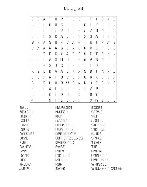 Volleyball Word Search Transparent