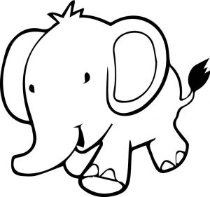 Walking baby elephant coloring page