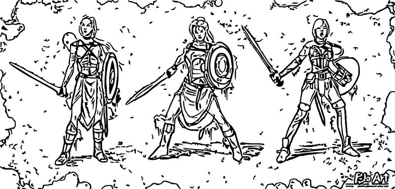 Warrior Girl Character Design P Joart Coloring Page