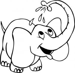 Washing elephant coloring page