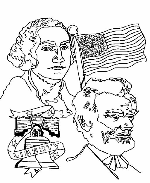 Washington Lincoln Presidents Day Coloring Pages