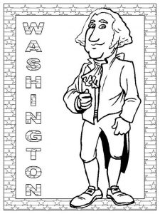 Washingtons birthday presidents day coloring page