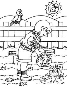 Watering seeds in the garden coloring pages 001