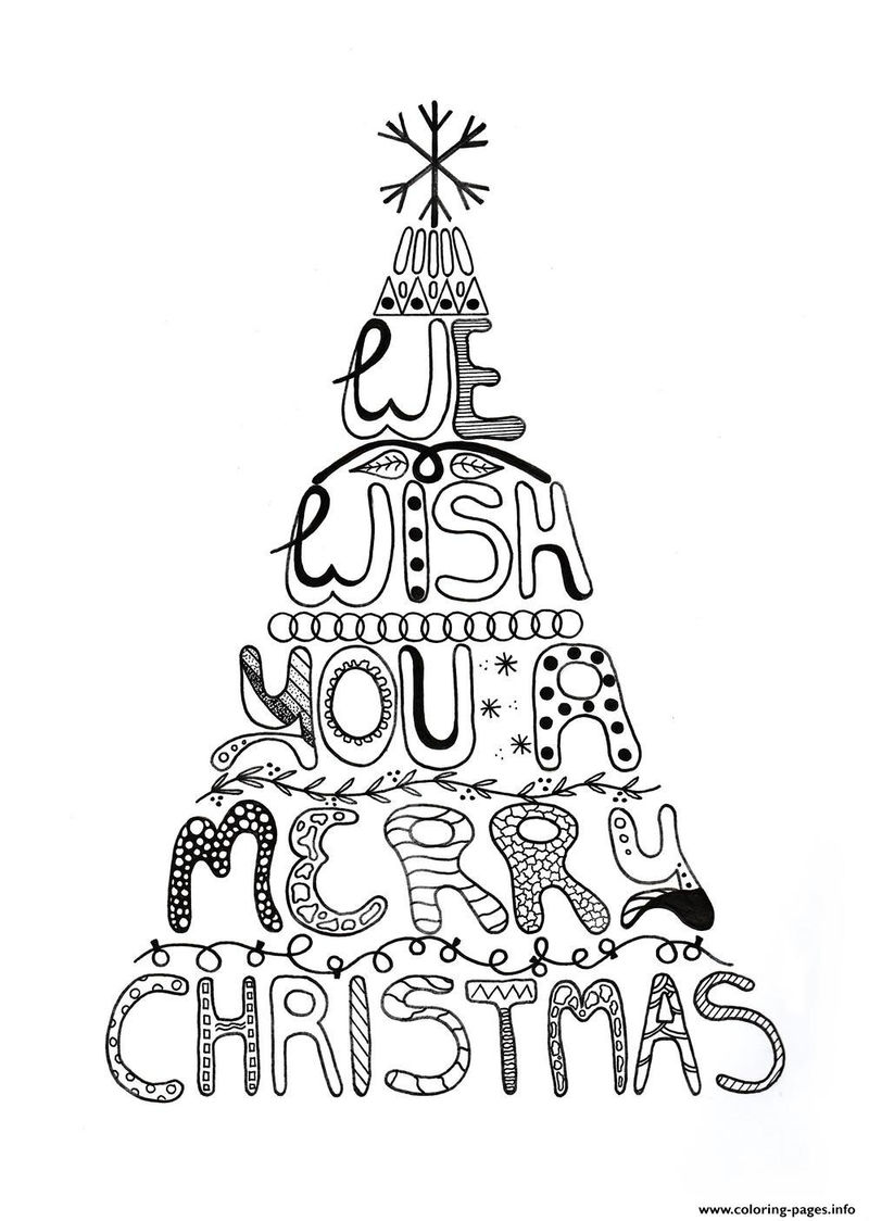 We Wish You A Merry Christmas Tree Coloring Page