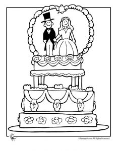Wedding cake coloring pages 1