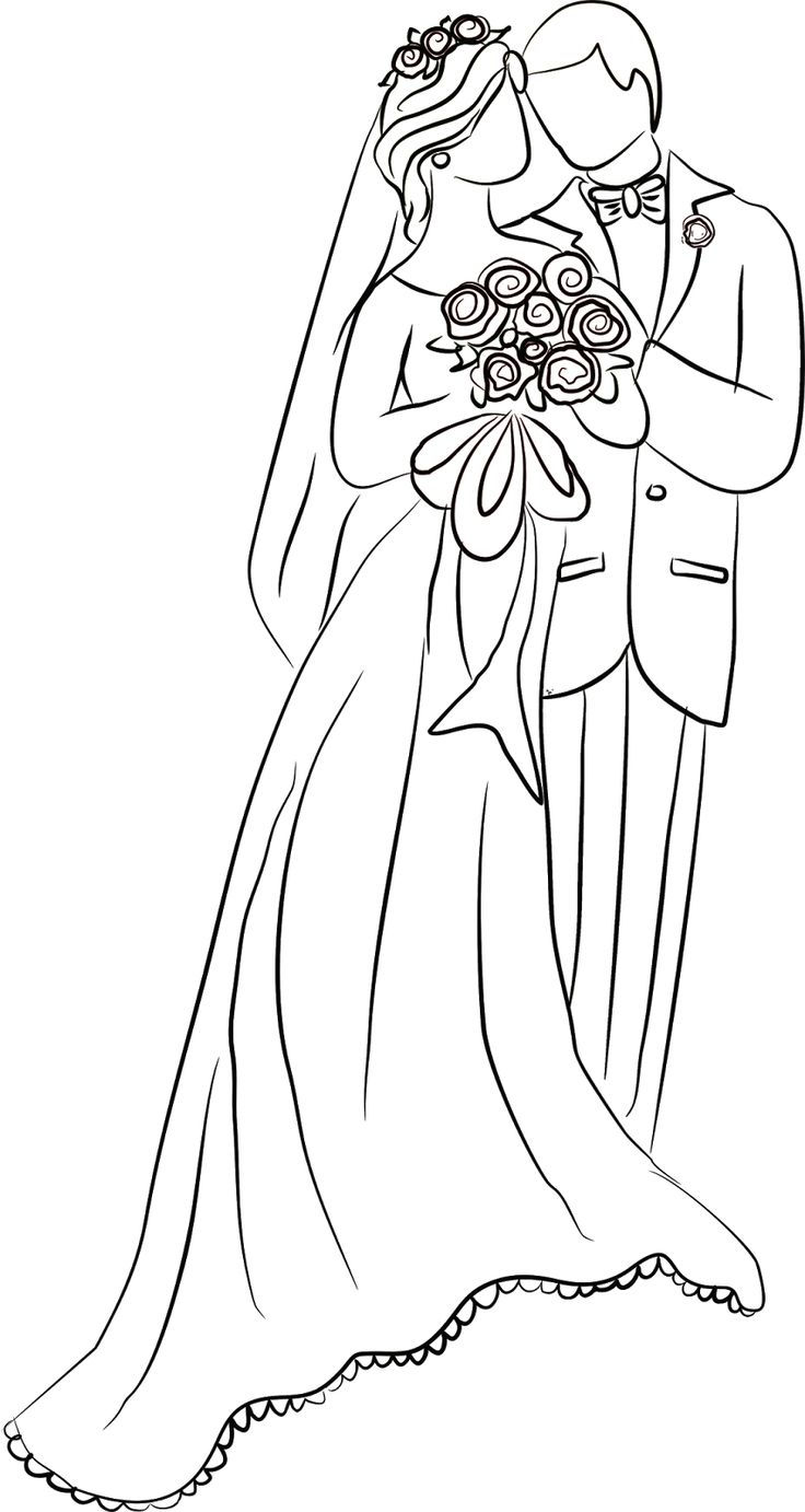 Wedding Couple Drawing Coloring Page