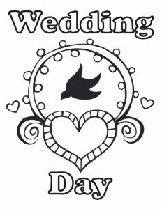 Wedding day coloring page