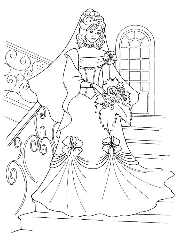 Wedding Dress Coloring Page 1