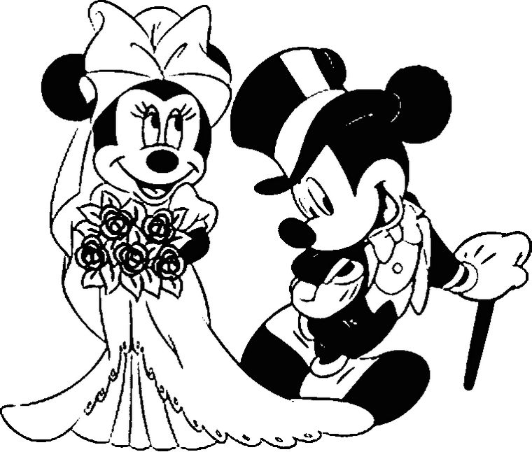 Wedding Mickey And Minnie Mouse Coloring Pages