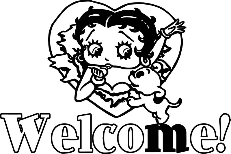 Welcome Betty Boop And Dog Coloring Page
