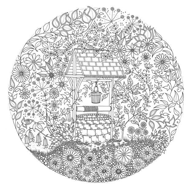 Well In Garden Coloring Page