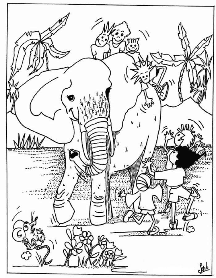 Wild Animals And Children Coloring Pages