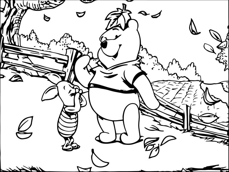 Winnie The Pooh And Piglet Autumn Coloring Page