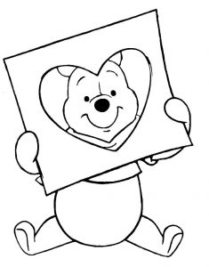 Winnie the pooh disney valentines coloring pages
