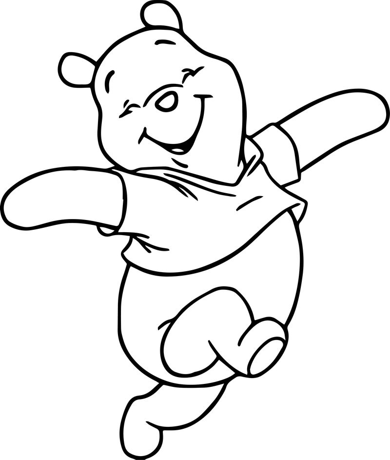 Winnie The Pooh Happy Cartoon Coloring Page