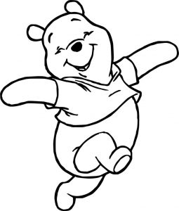 Winnie the pooh happy walking coloring page