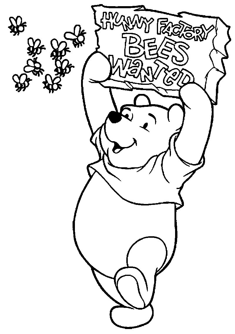 Winnie The Pooh Hunny Factory Bees Wanted Coloring Page